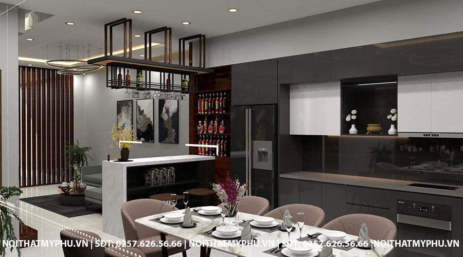 Quầy Bar kết hợp Phòng Khách tại Nhà Phố Trần Phú Tuy Hòa