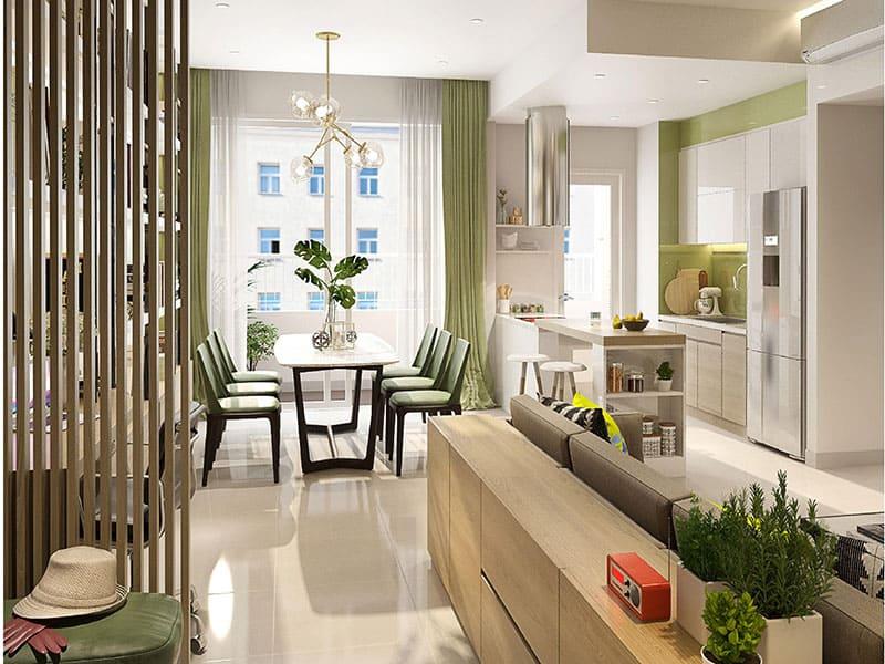 Phòng khách nối liền với bếp Căn Hộ Lexington