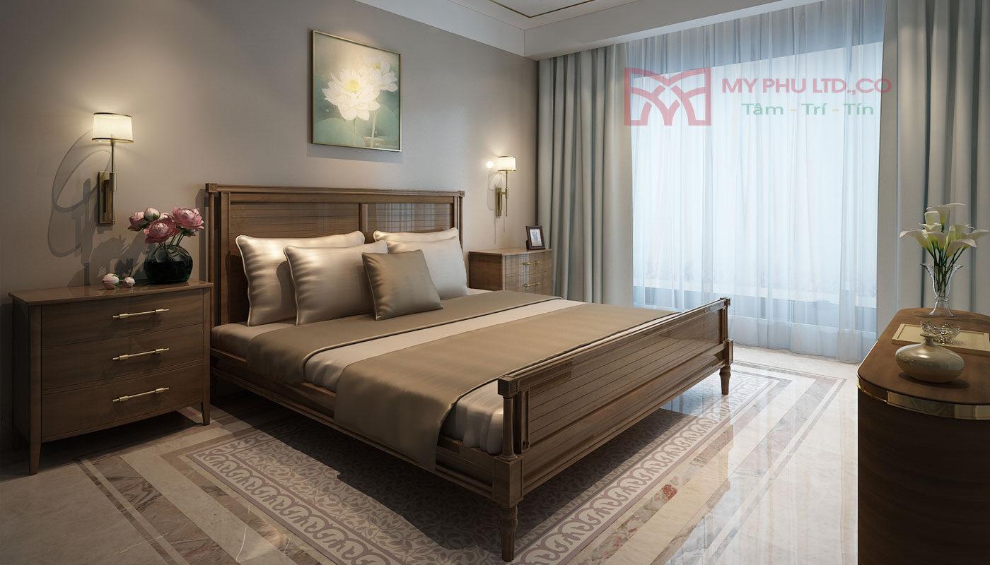 Phòng ngủ được thiết kế phong cách tân cổ điển
