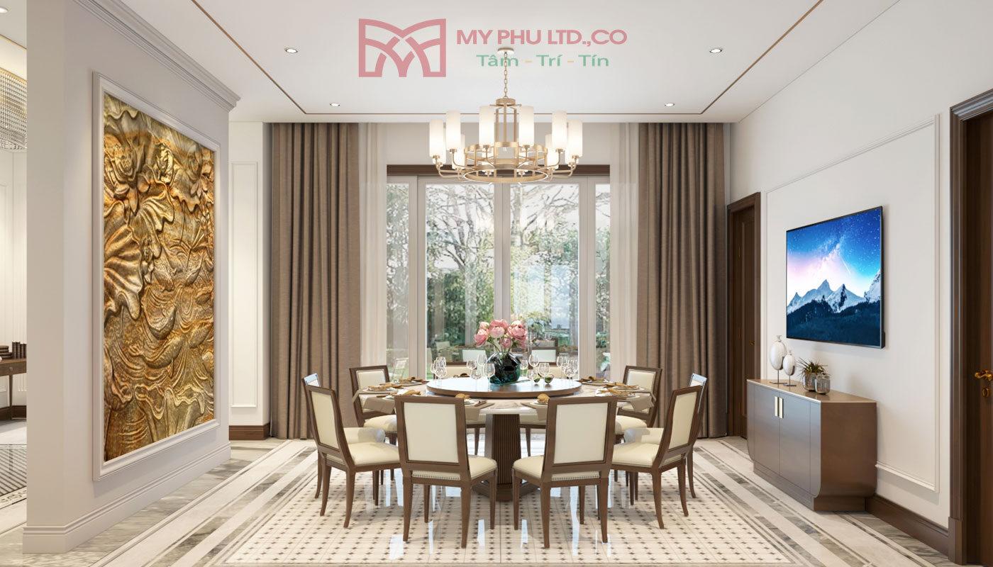 phòng khách chính diện của Villa