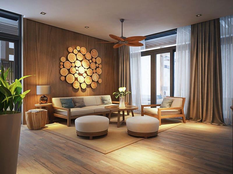 phòng khách tại villa biển long hải