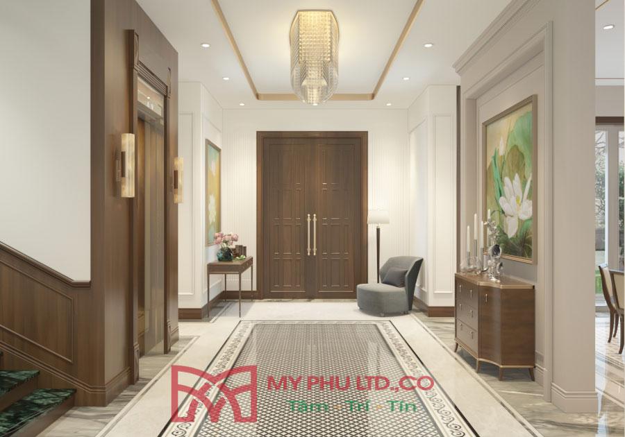 Thiết kế không gian hành lang rộng rãi, bài trí nội thất đơn giản