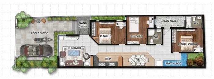 Mẫu Nhà Ống 1 Tầng 3 Phòng Ngủ Với Diện Tích 100m2