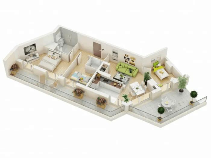 Mẫu Thiết Kế Nhà 1 Tầng 3 Phòng Ngủ Bị Gấp Khúc