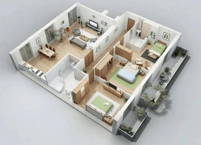 Mẫu Thiết Kế Nhà Ống 3 Phòng Ngủ Đẹp, Rộng Rãi