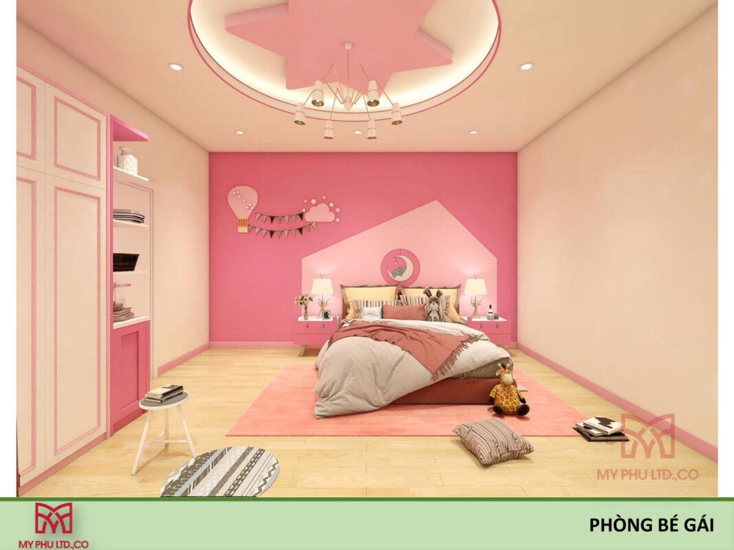 Phòng ngủ bé gái biệt thự phố