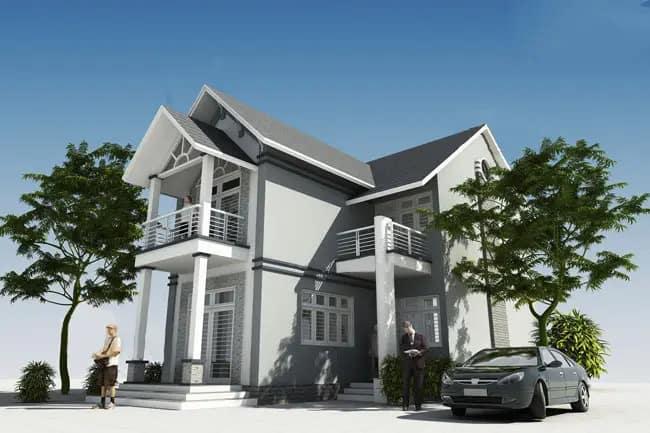 thiết kế nhà 2 tầng chữ L đẹp hiện đại