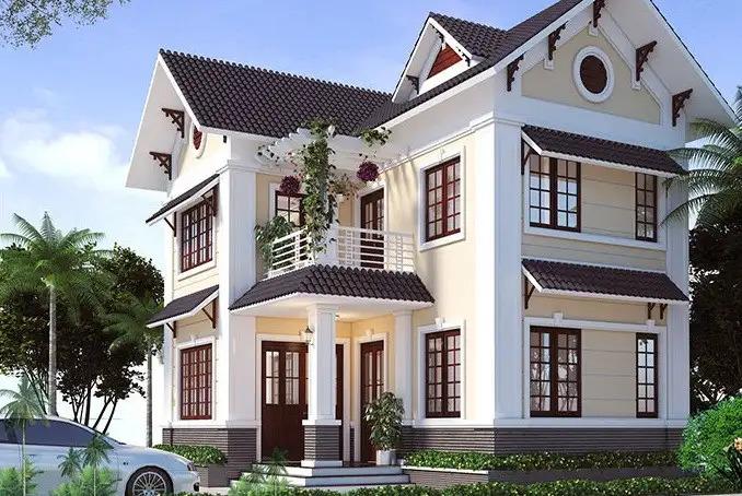 thiết kế nhà 2 tầng chữ L mái thái đẹp