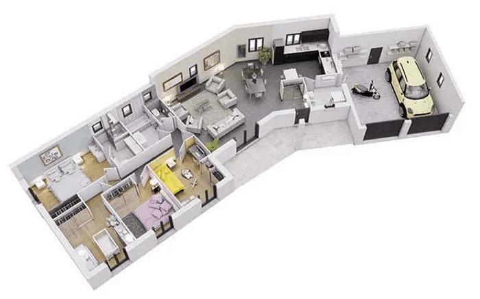 Thiết Kế Nhà Ống 1 Tầng 3 Phòng Ngủ 5x22m