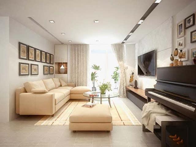 nội thất phòng khách nhà 6m dài 9m 2 tầng