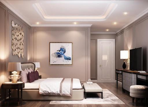 Phối cảnh nội thất phòng ngủ nhà 6m dài 9m