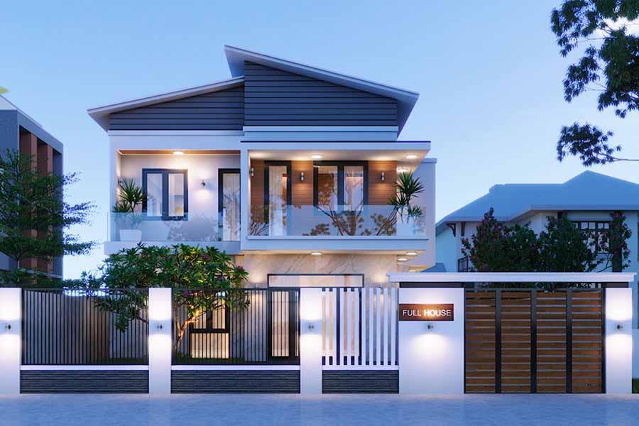 kiến trúc nhà mái lệch 2 tầng