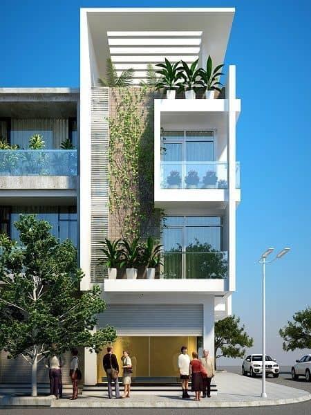 Ý tưởng thiết kế nhà lệch tầng 4×12 mái bằng