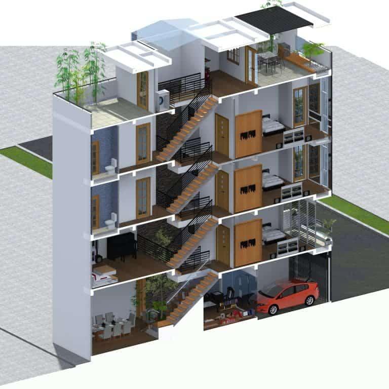 Nhà lệch tầng 4×12 với cách bài trí nội thất thông minh