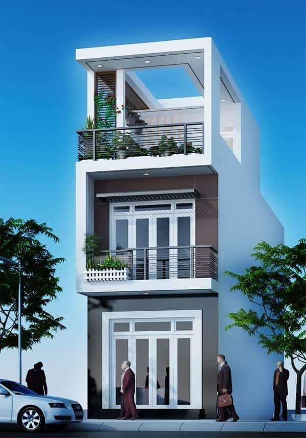 Mẫu nhà 2 tầng 1 tum lệch với phong cách hiện đại