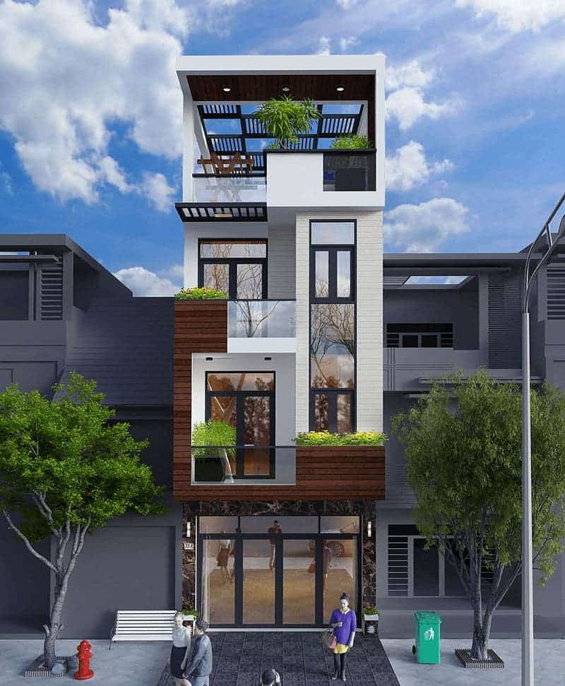 Mẫu nhà phố 3 tầng lệch hiện đại với diện tích 100m2