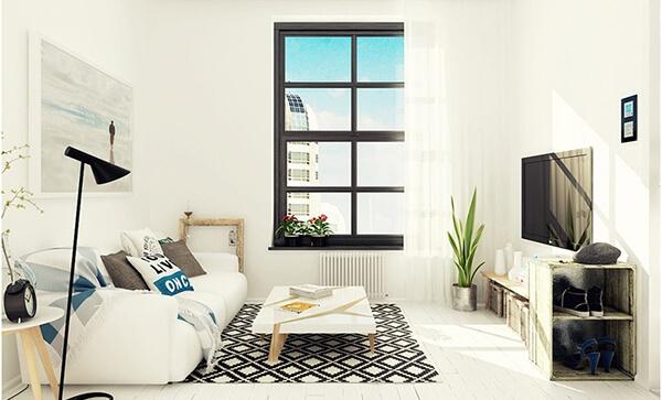 Mẫu phòng khách 12m2 tối giản