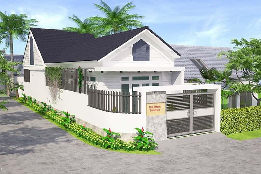 Mẫu thiết kế ngôi nhà 1 tầng 2 phòng ngủ 100m2 truyền thống