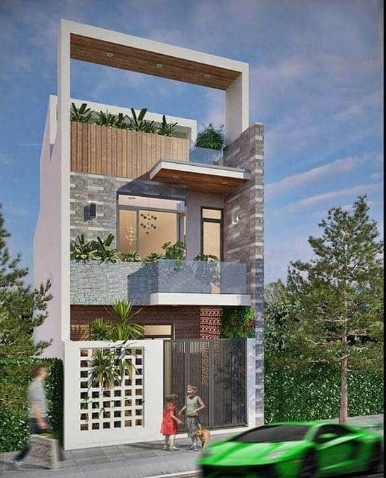 Nhà lệch tầng 5x20 kết hợp với không gian xanh