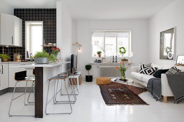 nội thất phòng khách kết hợp phòng ăn 10m2