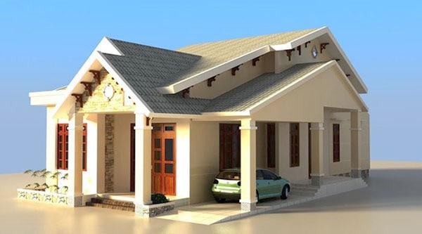 Thiết kế nhà 1 tầng 2 phòng ngủ 100m2 mái thái có Gara oto