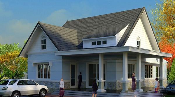 Thiết kế nhà đẹp 1 tầng 2 phòng ngủ mái thái 100m2