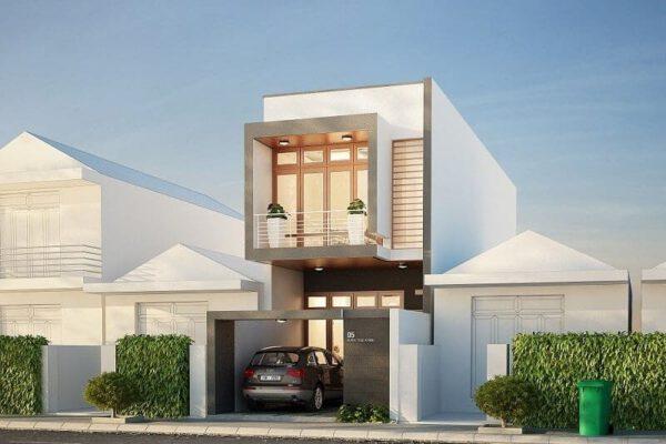 Thiết kế nhà phố 2 tầng lệch 5x20m
