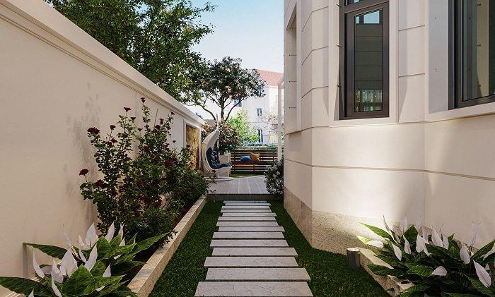 Thiết kế tiểu cảnh sân vườn biệt thự tân cổ điển 3 tầng 11x12m đẹp mắt