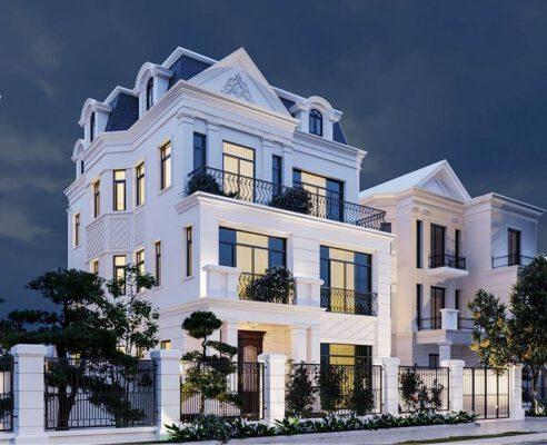 thiết kế biệt thự tân cổ điển 3 tầng 11x12m