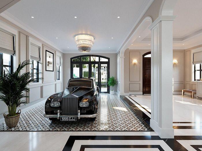Không gian để xe bên trong biệt thự đầy rộng rãi