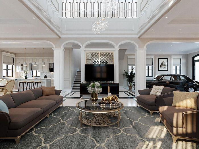 Phòng khách biệt thự tân cổ điển 3 tầng 11x12m
