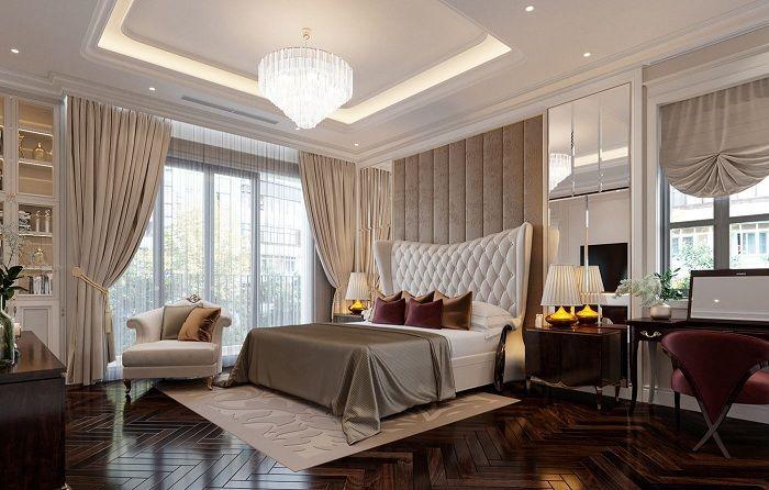 Thiết kế phòng ngủ Master biệt thự tân cổ điển 3 tầng 11x12m
