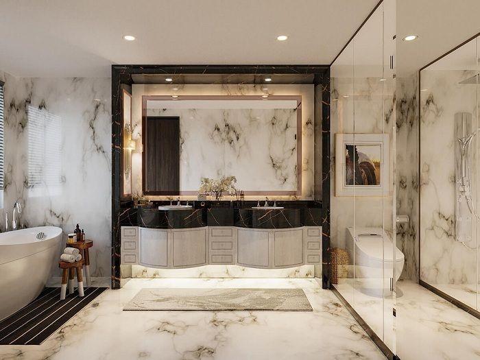 Thiết kế phòng tắm biệt thự tân cổ điển 3 tầng 11x12m