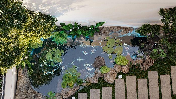 Thiết kế tiểu cảnh sân vườn biệt thự tân cổ điển 3 tầng 11x12m