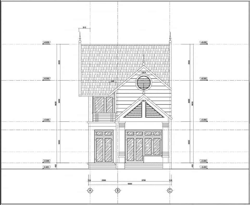 bản vẽ kiến trúc nhà cấp 4 mái thái gác lửng 3 phòng ngủ