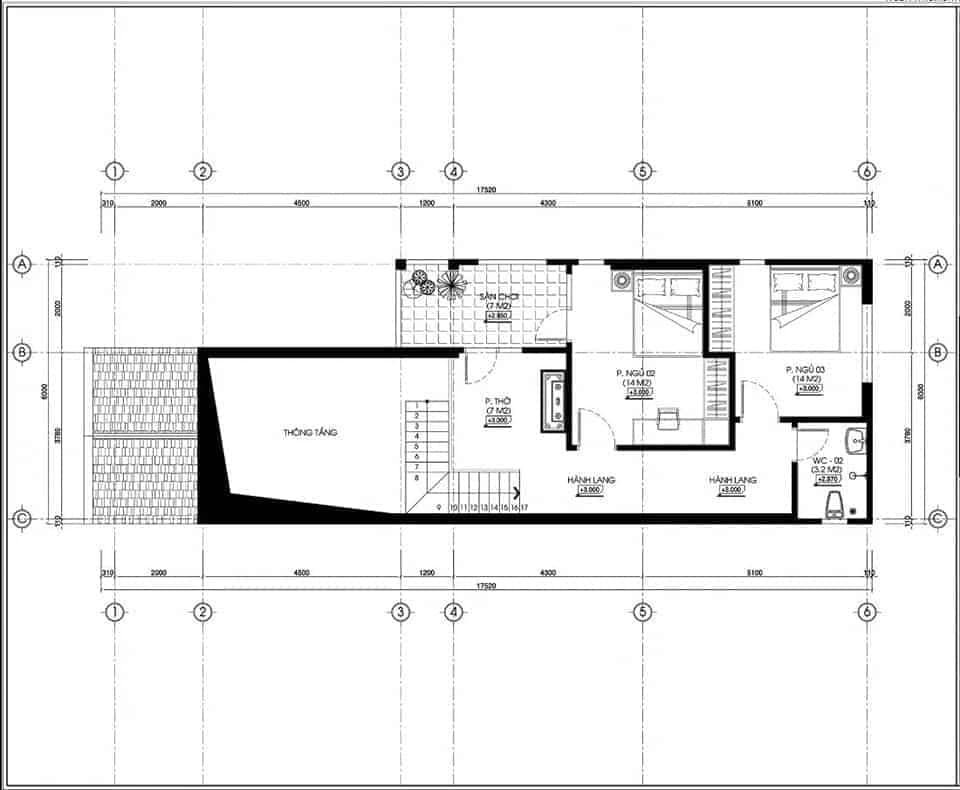 bản vẽ nhà cấp 4 mái thái gác lửng 3 phòng ngủ