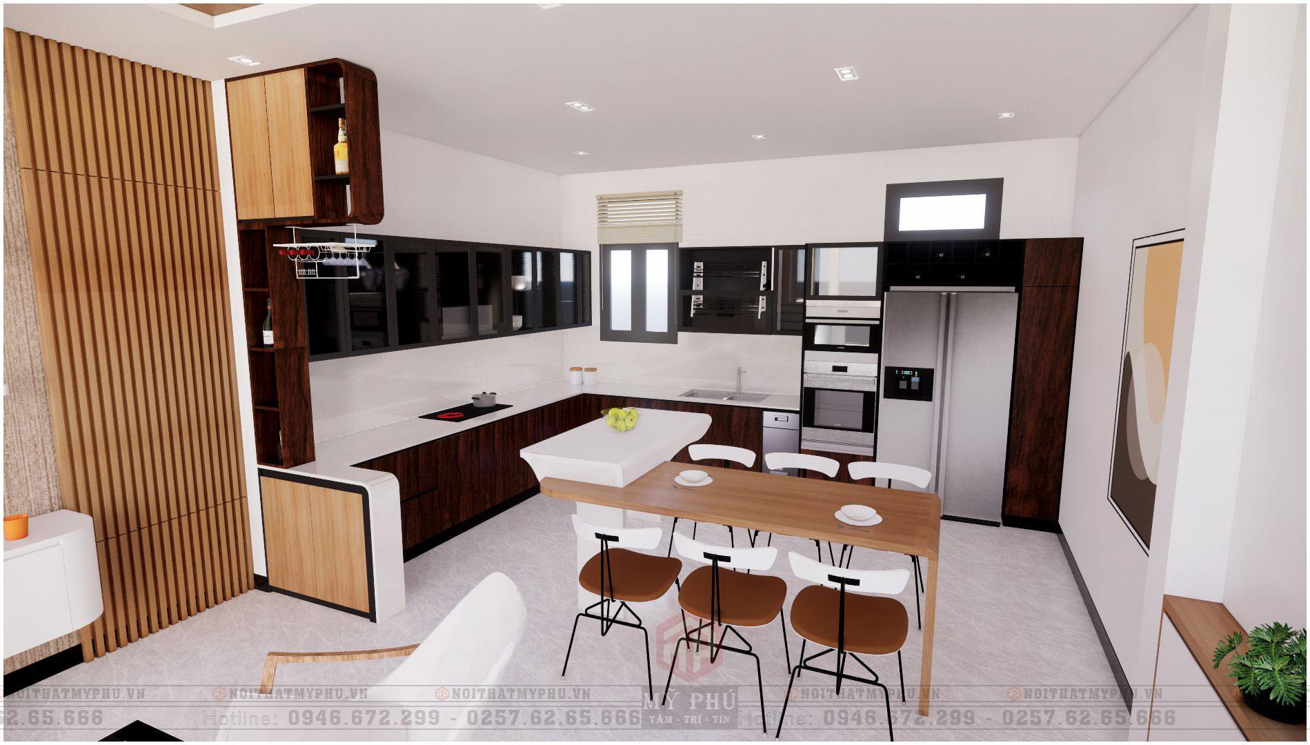 Khu vực bếp nhà phố 5x20m