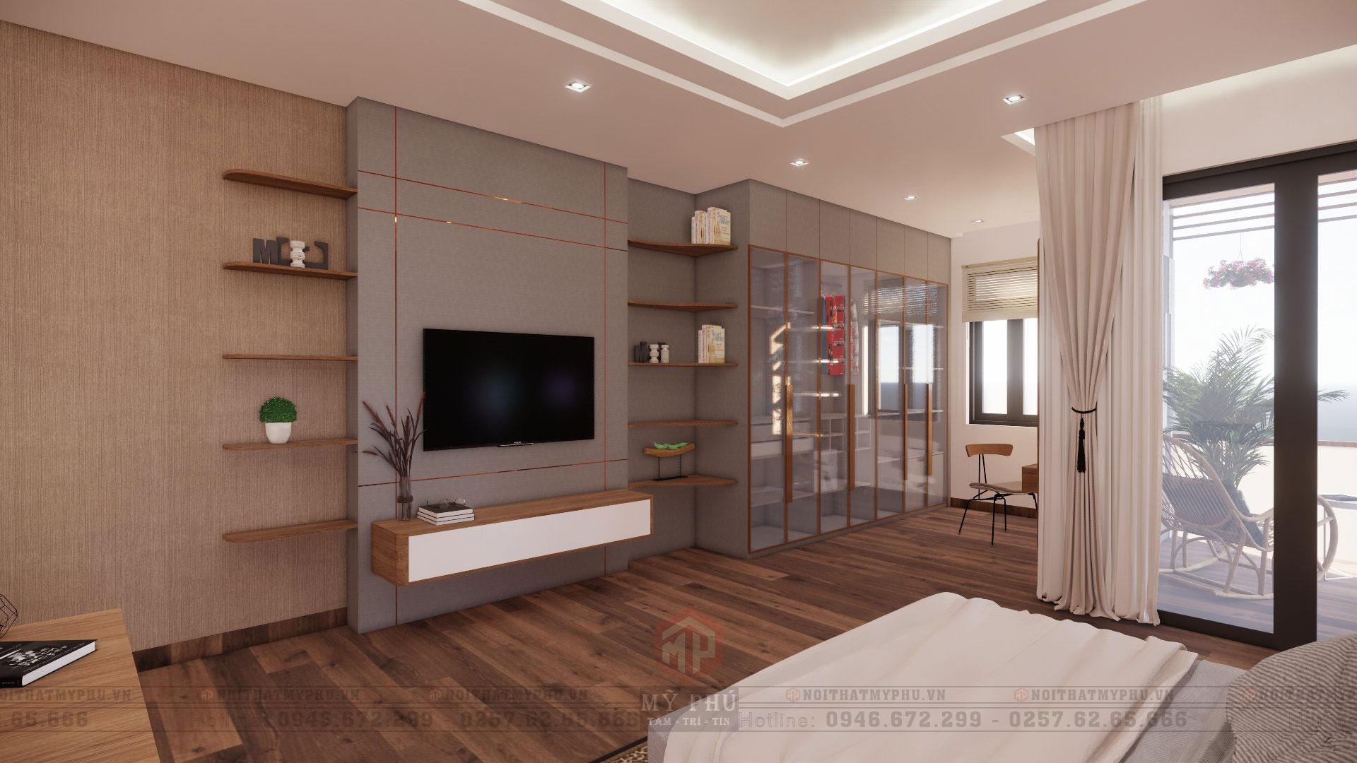 nội thất phòng ngủ master nhà phố 5x20